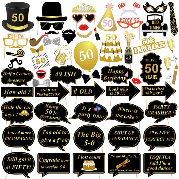 50th Birthday Photo Booth Props, Konsait 50 Black and Faux Gold Happy  Birthday Decorations DIY Photo Booth Prop Kits with Stick for Birthday  Party.