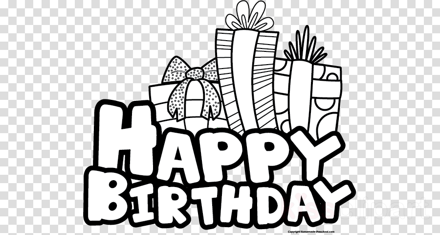 Black And White Happy Birthday clipart.
