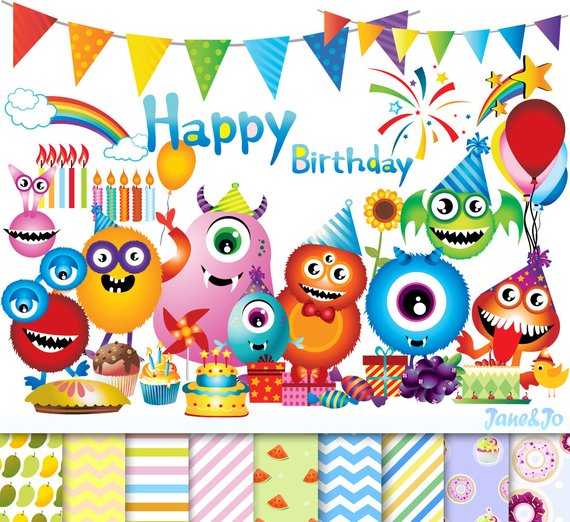 90 Happy birthday cliparts 9 Digital papers,Monster birthday.