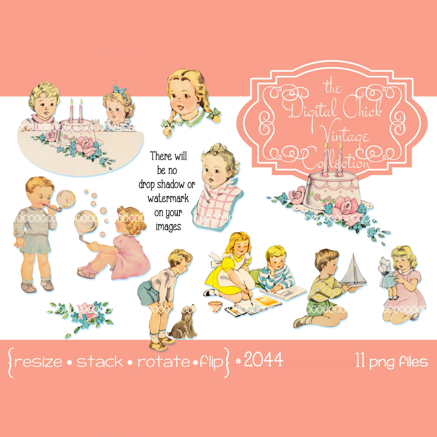 Vintage Birthday Cake Clipart, Toddler, Child, Children, Kid, Little Girl,  Little Boy.