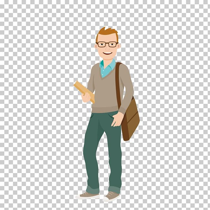 Student University College Cartoon , Carrying shoulder bag.