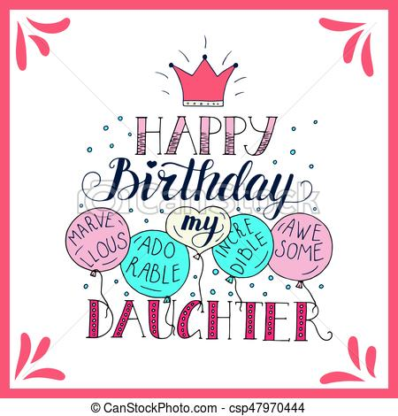 Color vector birthday card for daughter..