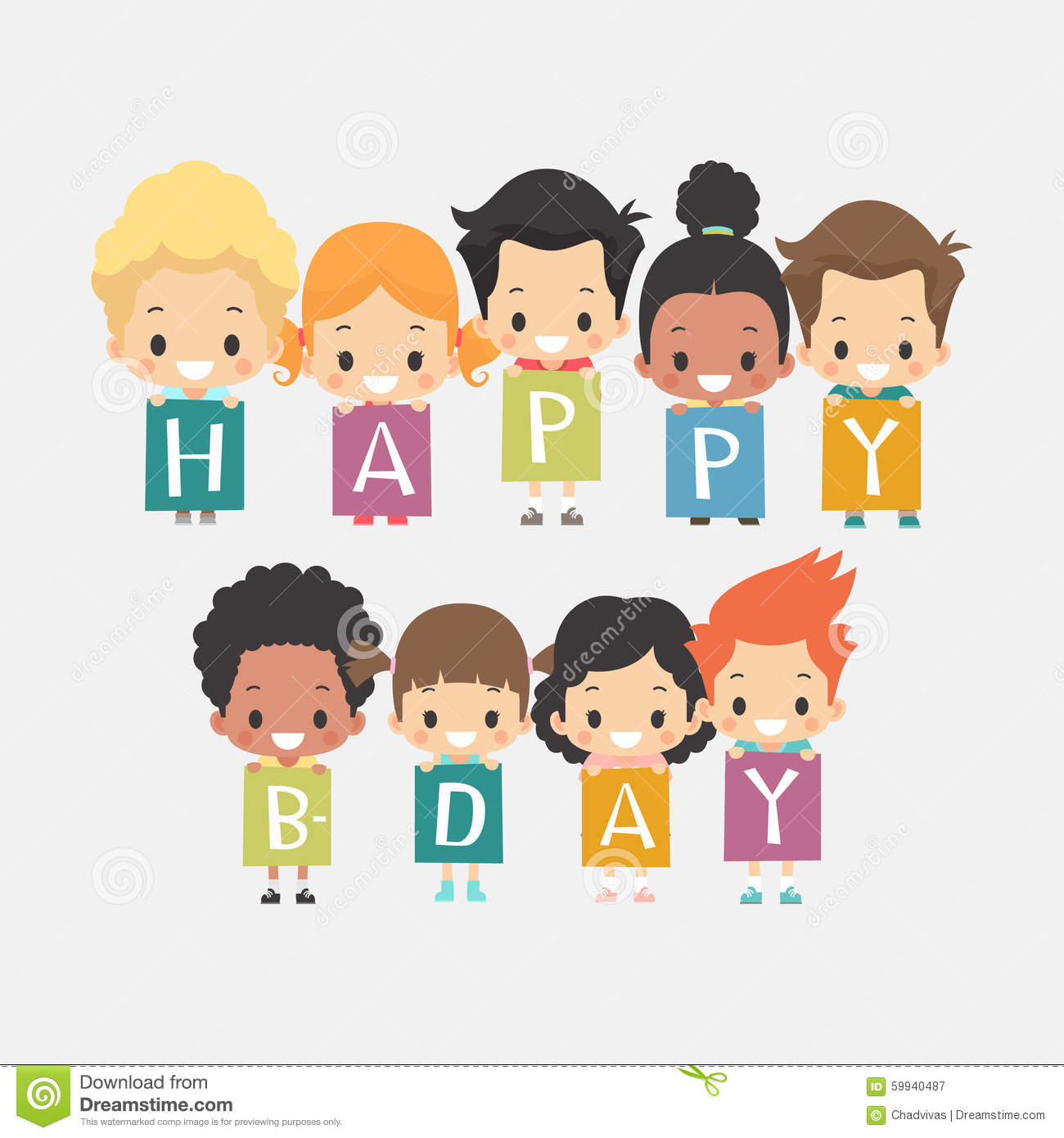 Kids Happy Birthday Clipart.