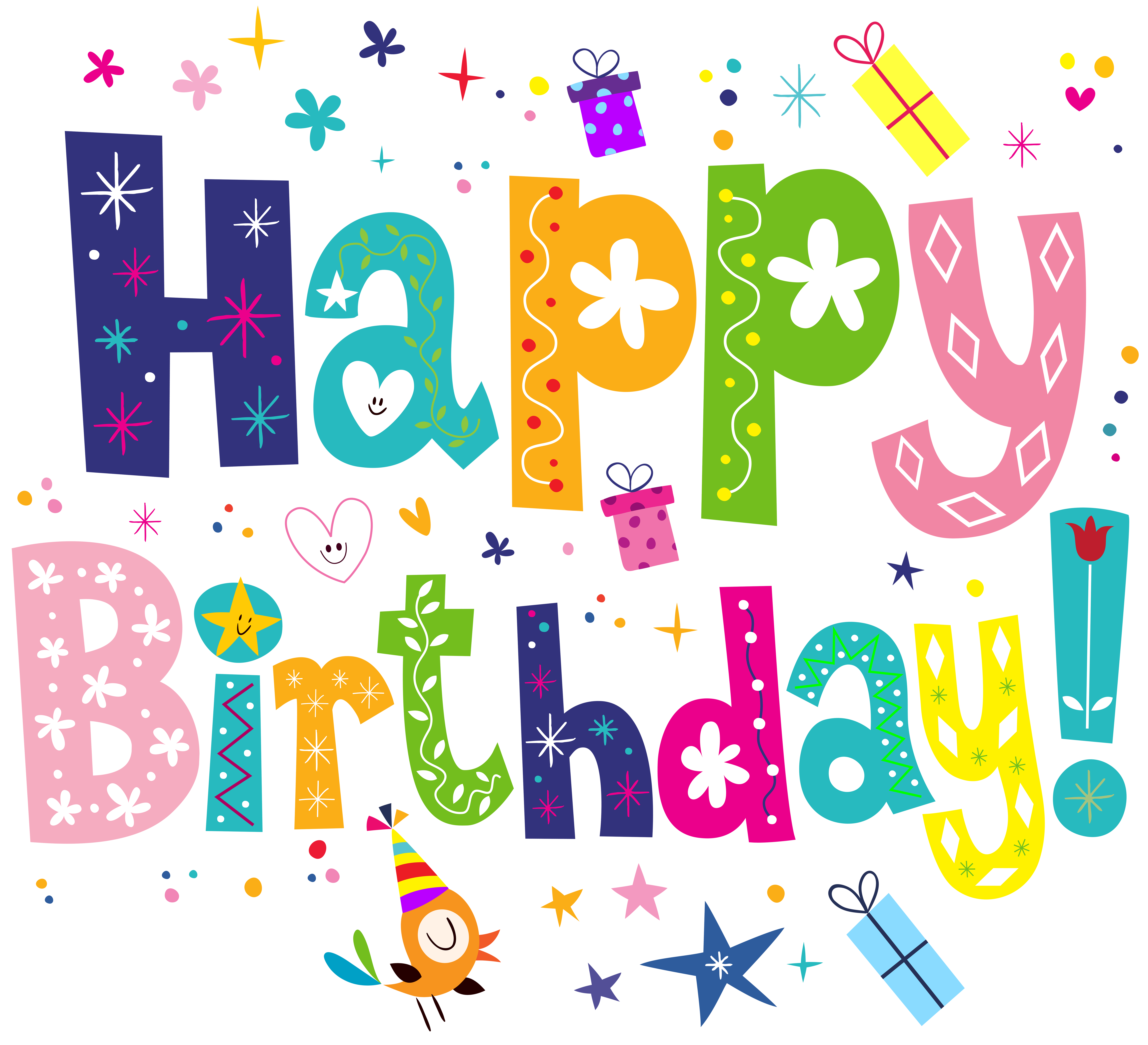 Happy Birthday Cute PNG Transparent Clip Art Image.