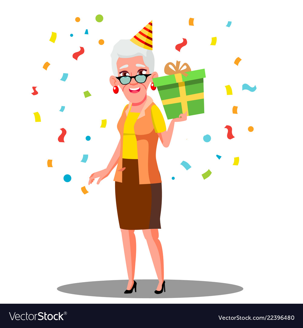 Funny old woman celebrate birthday in party caps vector image.