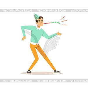 Funny young man dancing at birthday party. Cartoon.