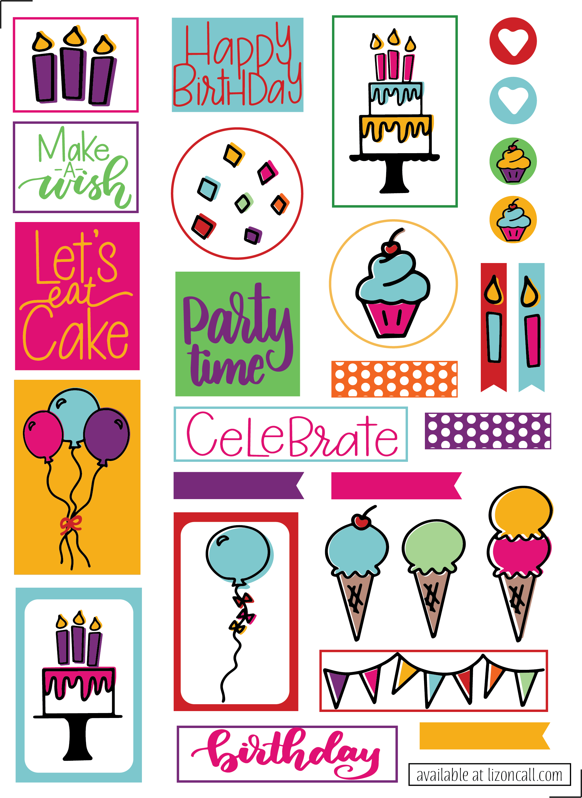 Free Birthday Planner Stickers.