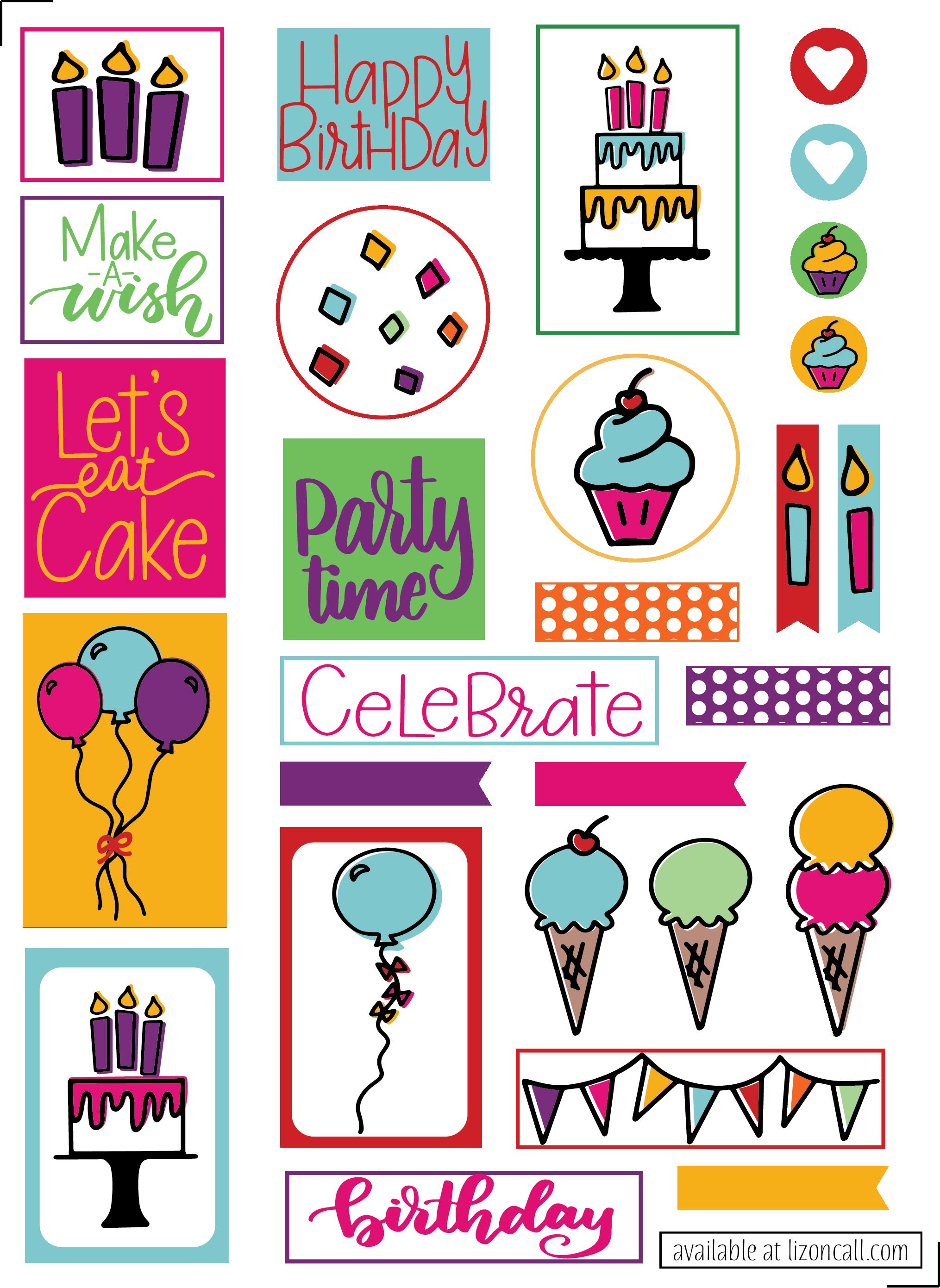 Free Birthday Planner Stickers.
