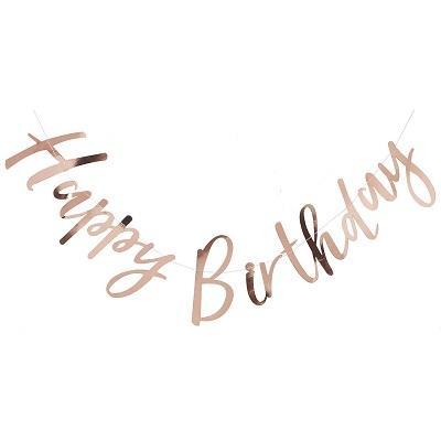 Rose Gold Happy Birthday Bunting.