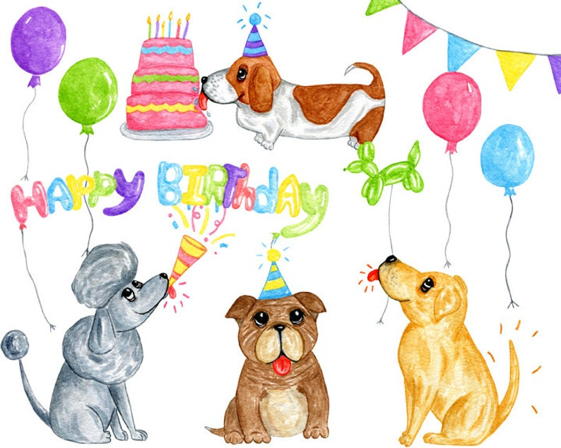Watercolor birthday clipart, Balloon clipart, Birthday dog clipart, Kid  birthday clipart, Watercolor dog clipart, Bunting banner clipart.