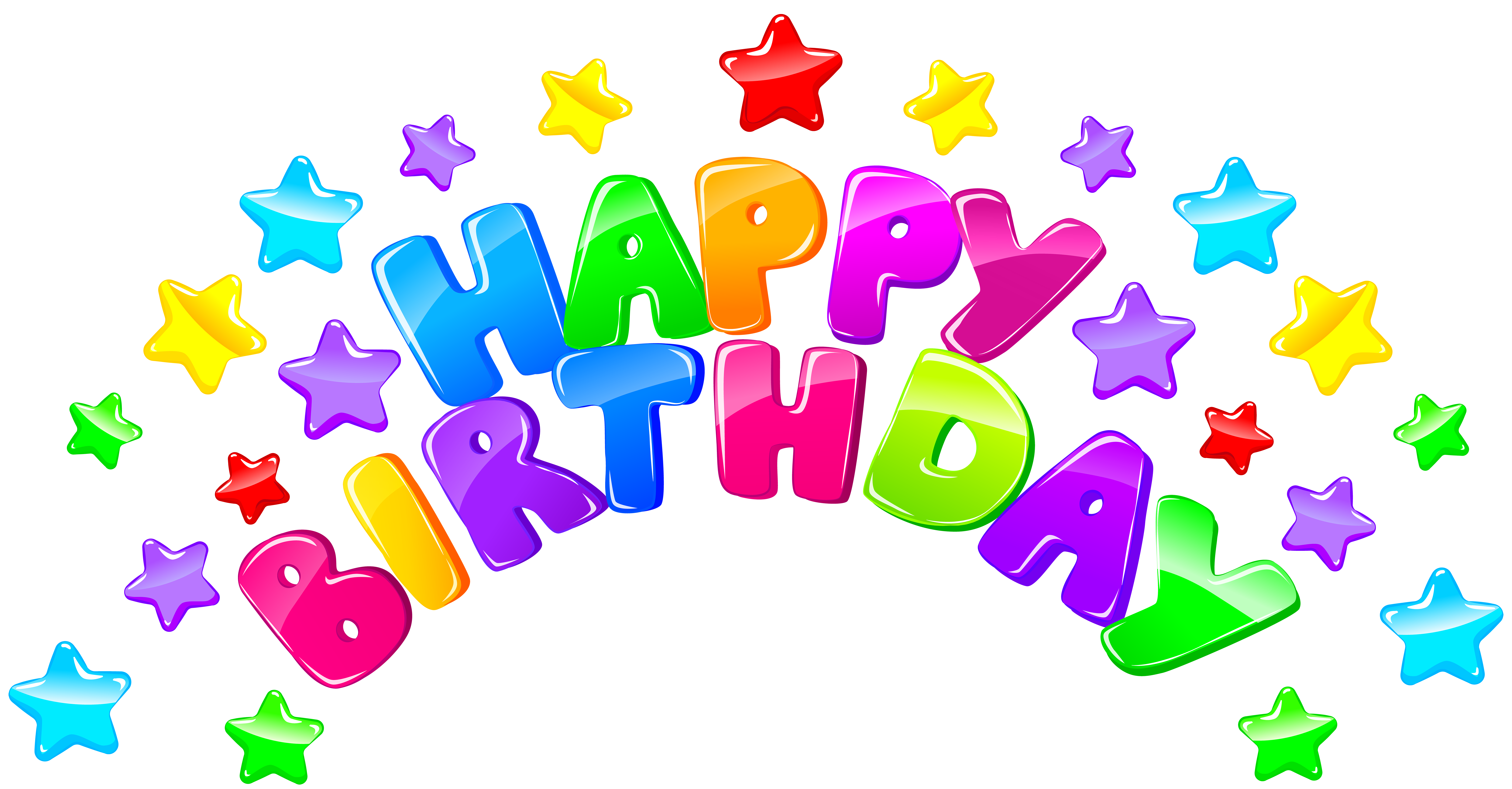 Happy Birthday Decor with Stars PNG Clip Art Image.