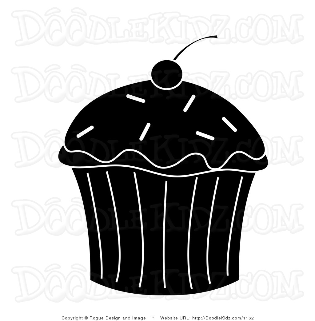 Clip Art Illustration of a Cupcake Silhouette.