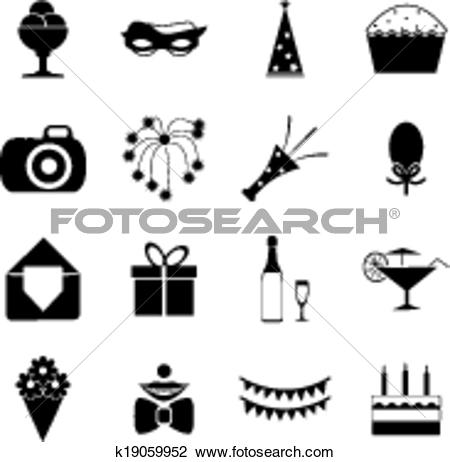 Clipart of Birthday Party Celebrate Isolated Silhouette Icons and.