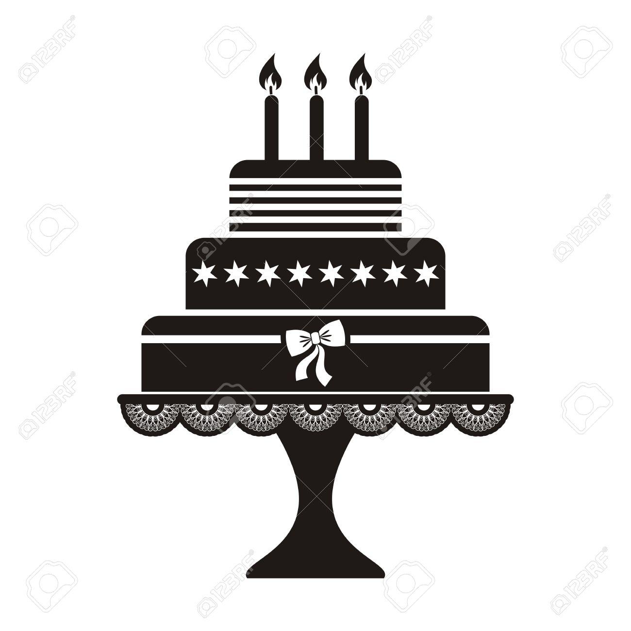 Vector Illustration Of Black Silhouette Birthday Cake Icon Royalty.