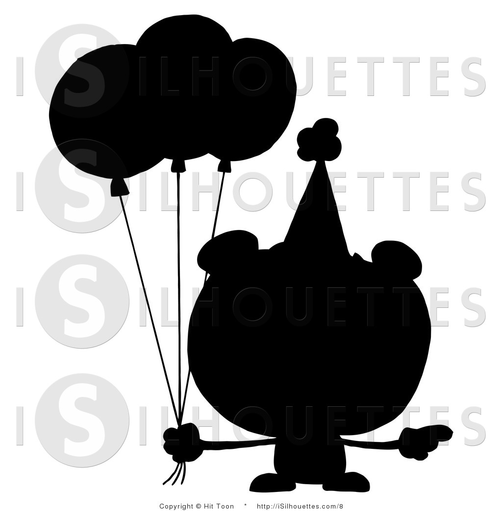 Silhouette Vector Clipart of a Silhouetted Bear with Birthday.
