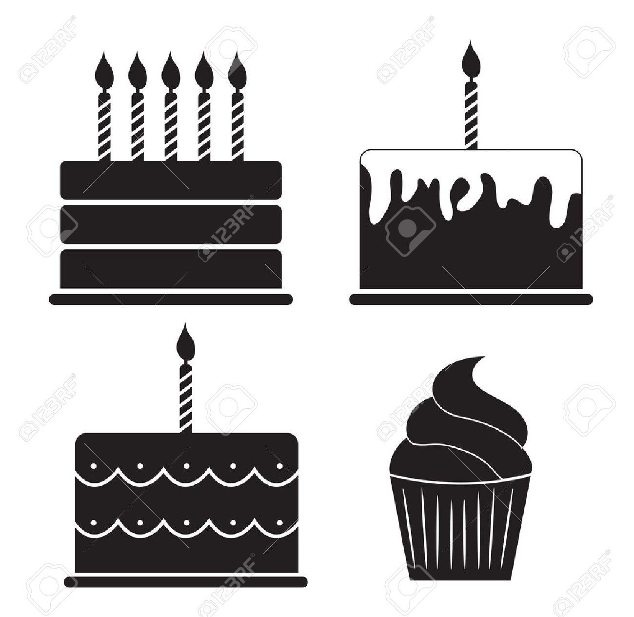 Birthday Cake Silhouette Set Vector Illustration Royalty Free.