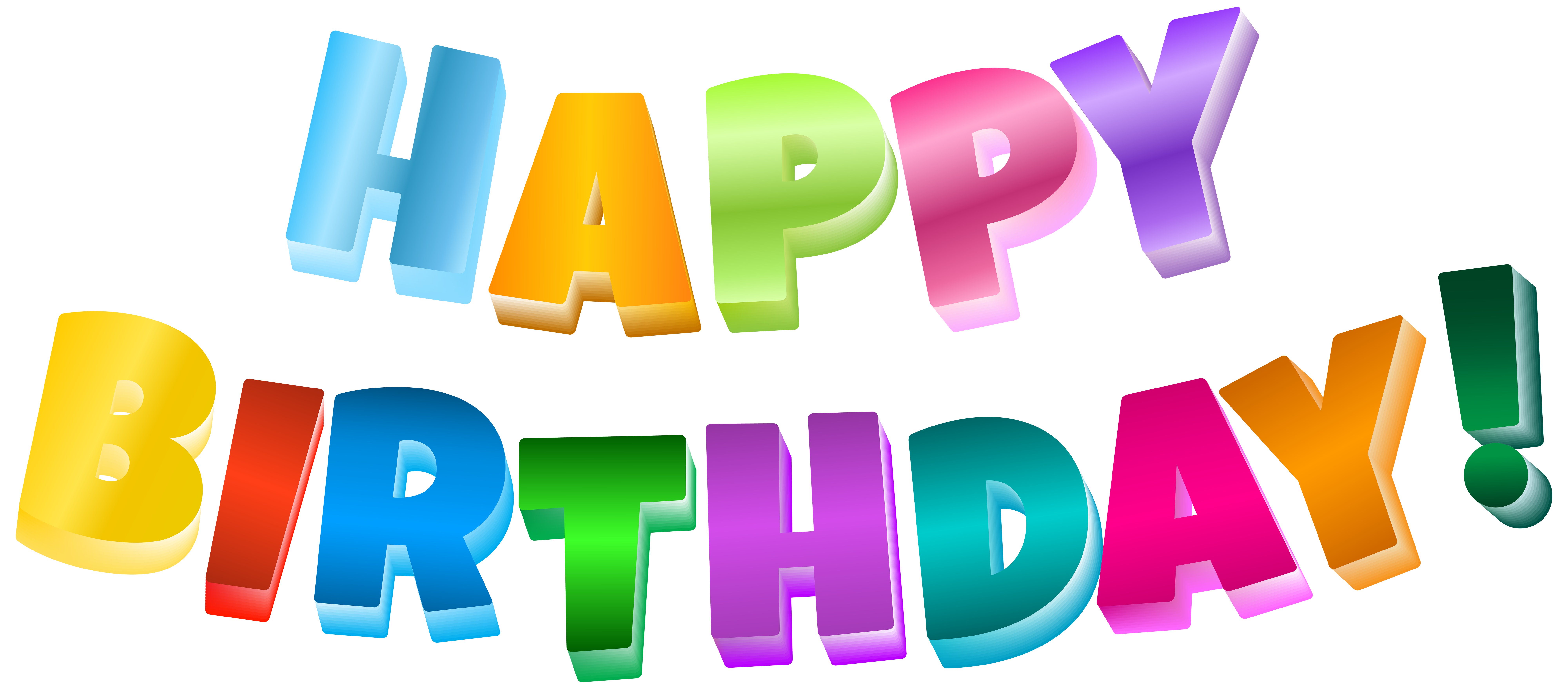 Multicolor Happy Birthday Transparent PNG Clip Art Image.