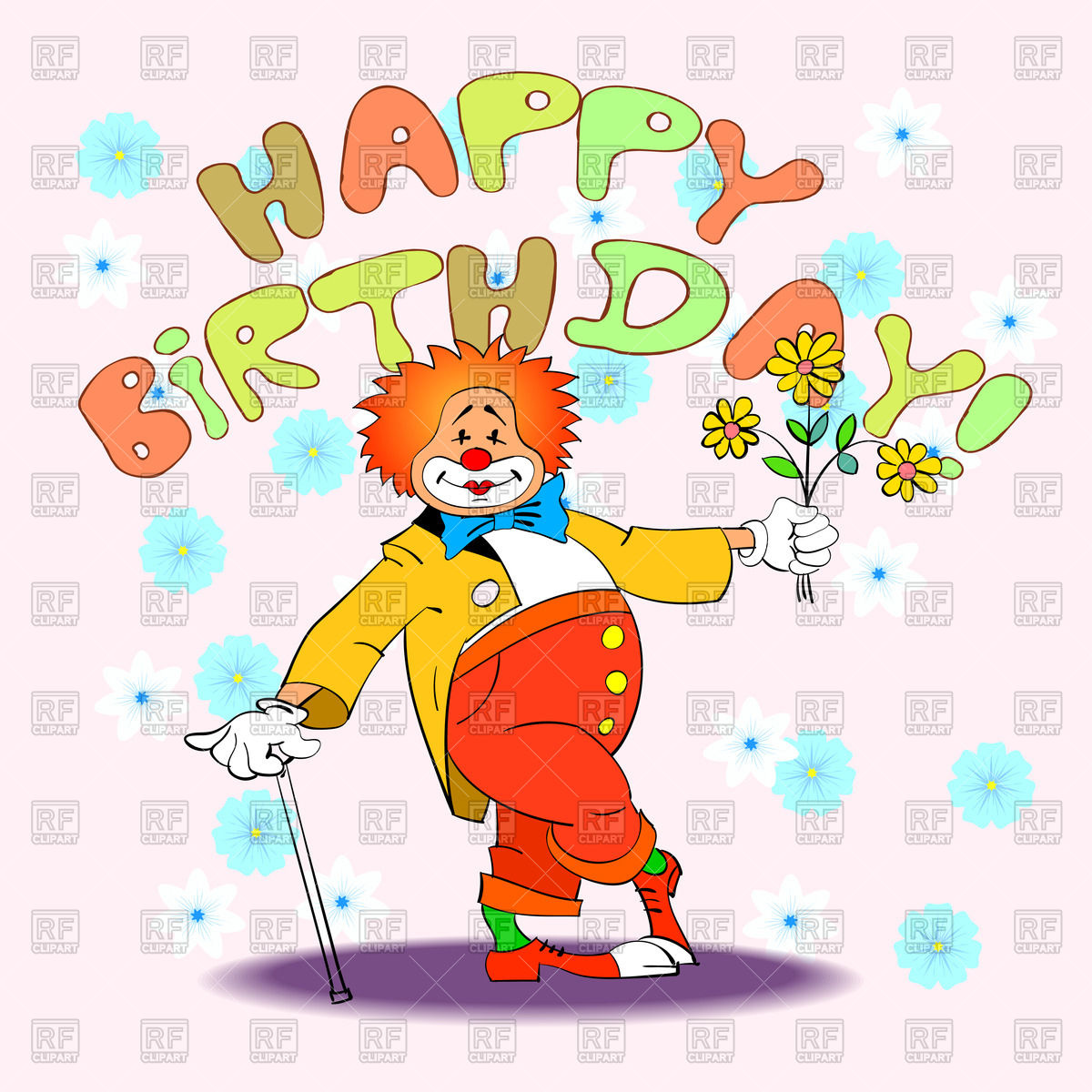 Happy birthday card with clown Stock Vector Image.