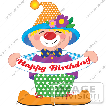 Clip Art Graphic of a Cute And Colorful Party Clown Holding A Happy.