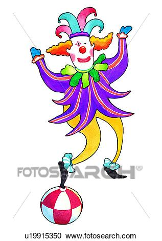 Painting, watercolor, birthday, clown, performance Clipart.