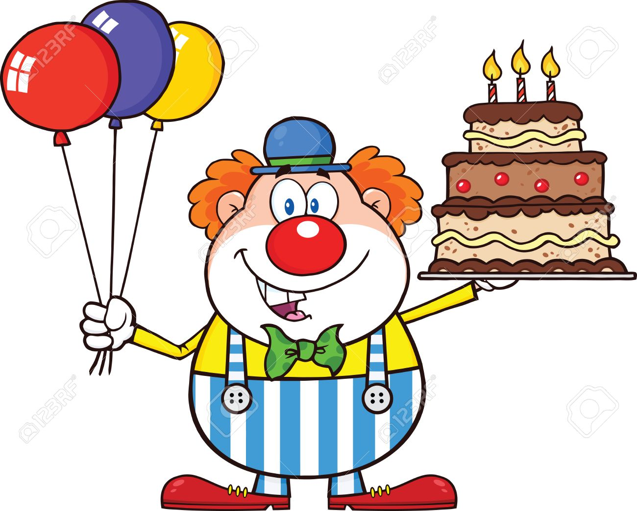 Birthday Clown Cartoon Character With Balloons And Cake With...