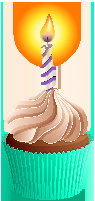 Birthday Cupcake PNG Clip Art Image.