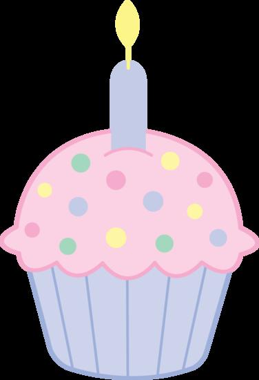 Pink Birthday Cupcake Clipart.