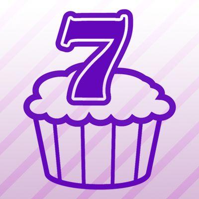 Number 7 Cupcake Iron on Transfer.