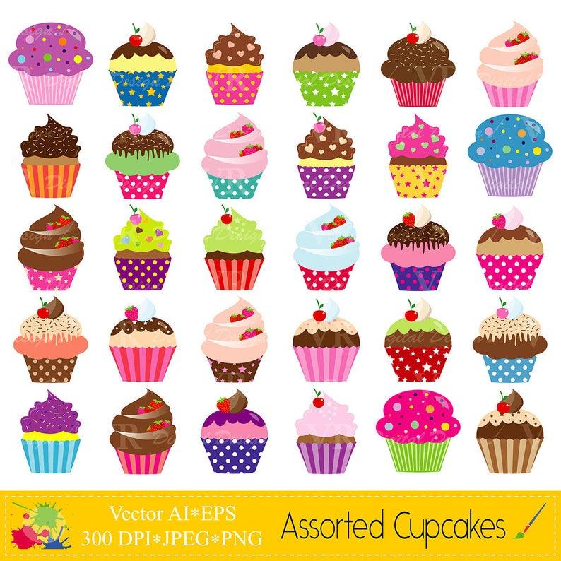 Assorted Cupcakes Clip Art, Cute Birthday Colorful Cupcakes Clipart, Party  Cupcakes Clipart, Sweet Cupcakes Digital Download Vector.