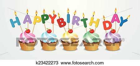 Happy birthday cupcake Clipart.