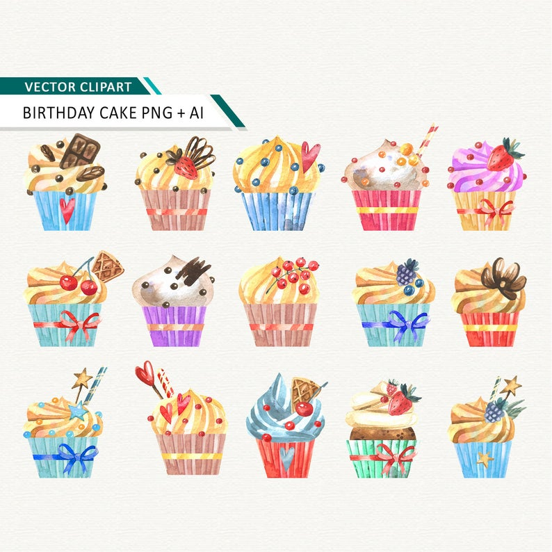 Cupcake clipart Watercolor BIRTHDAY CUPCAKES digital clip art party sweets  printable desserts Wedding Birthday Party Clipart.