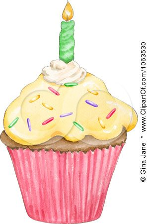 Clipart Birthday Cupcake And Candle.