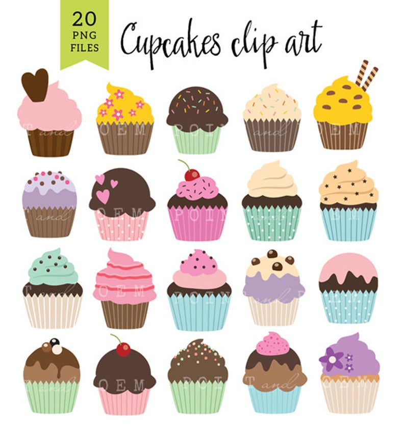 Sweet Cupcakes clipart for invitations, birthdays, BIRTHDAY CUPCAKES  CLIPART, scrapbooking cupcake clip art, party, sweets, Instant Download.