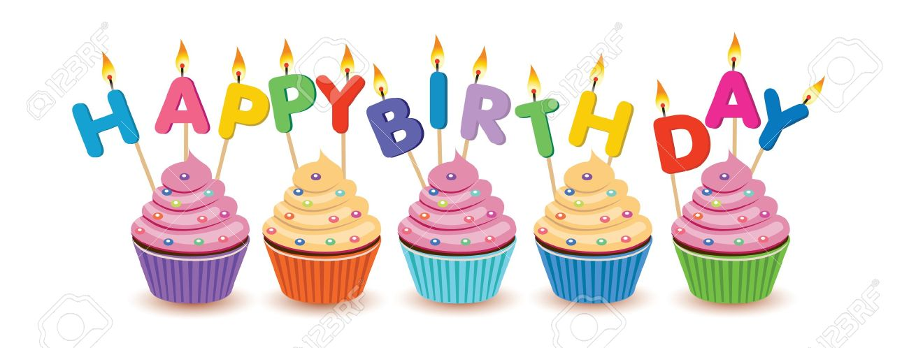 Birthday cupcakes isolated Happy Birthday birthday card.