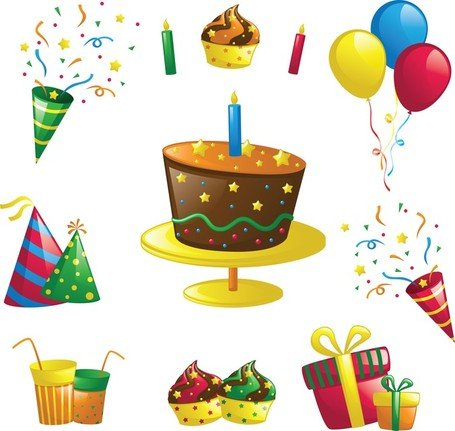 Birthday Design Element Set Clipart Picture Free Download.