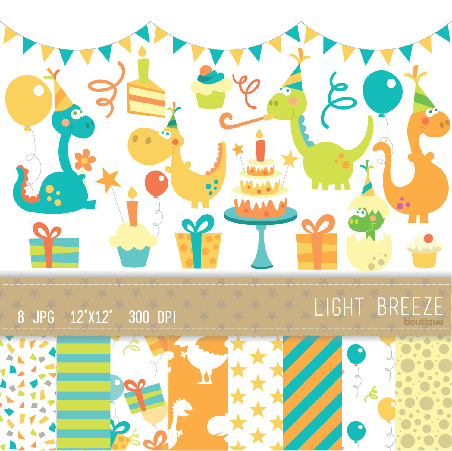 Birthday Dinosaur Clipart Vector & Digital Scrapbooking.