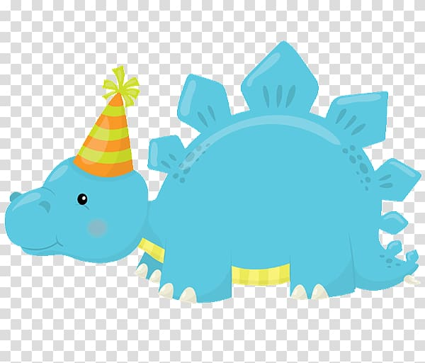Blue dinosaur wearing party hat illustration, Wedding.