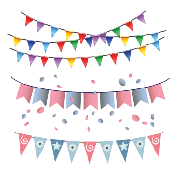 Birthday Flag PNG Images.