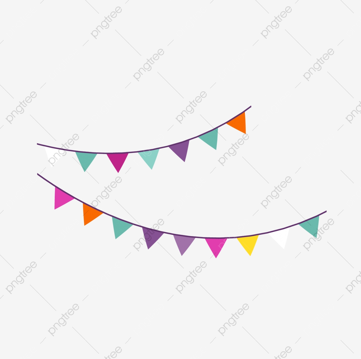 Cartoon Birthday Party Hanging Flag Vector Png, Birthday Clipart.