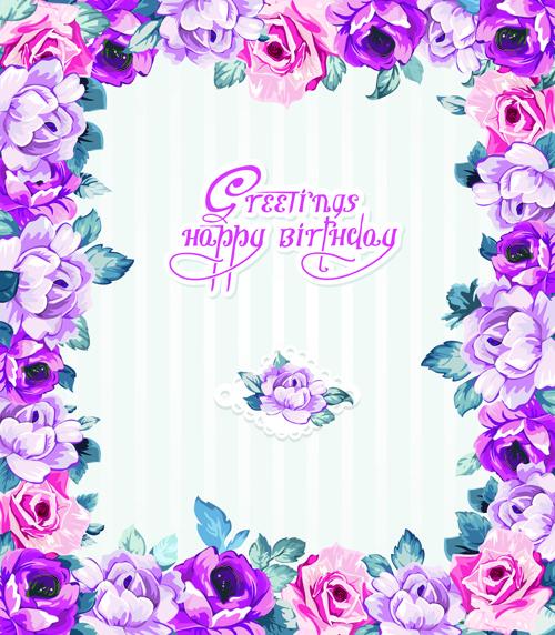 Happy birthday flower banner clipart free vector download (21,947.