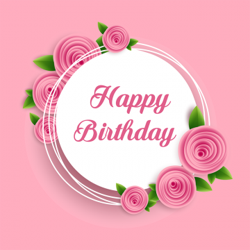 Pink Flower With Happy Birthday Card Vector, Pink Flowers.
