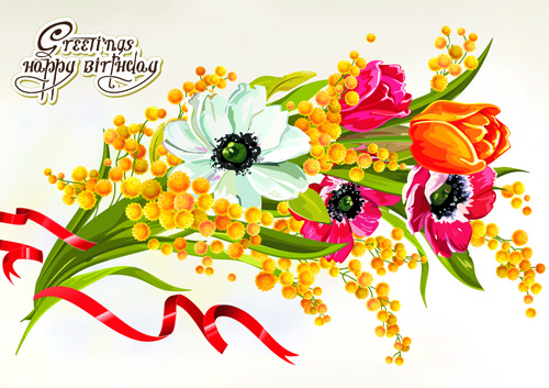 Happy birthday flower banner clipart free vector download (21,899.