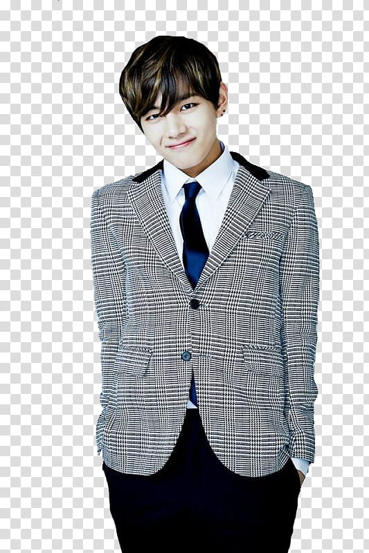 BTS V Birthday, man in gray suit jacket transparent.