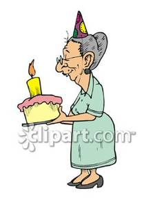 An Elderly Woman With a Birthday Cake.