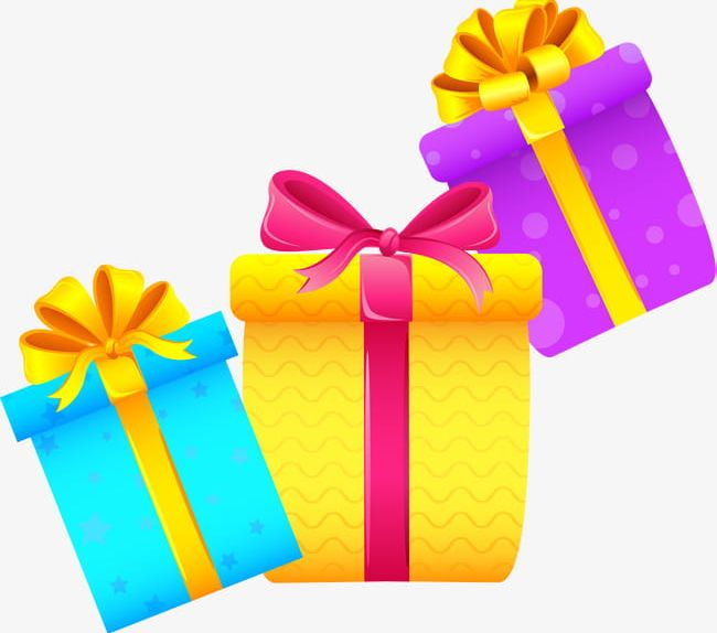 Three Cartoon Gift Boxes PNG, Clipart, Birthday, Birthday Present.