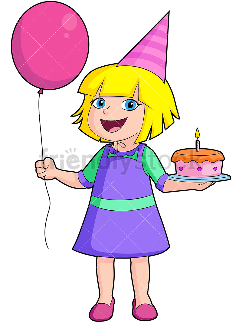 A Happy Birthday Girl Dressed In Purple, Holding A Cake And Balloons.