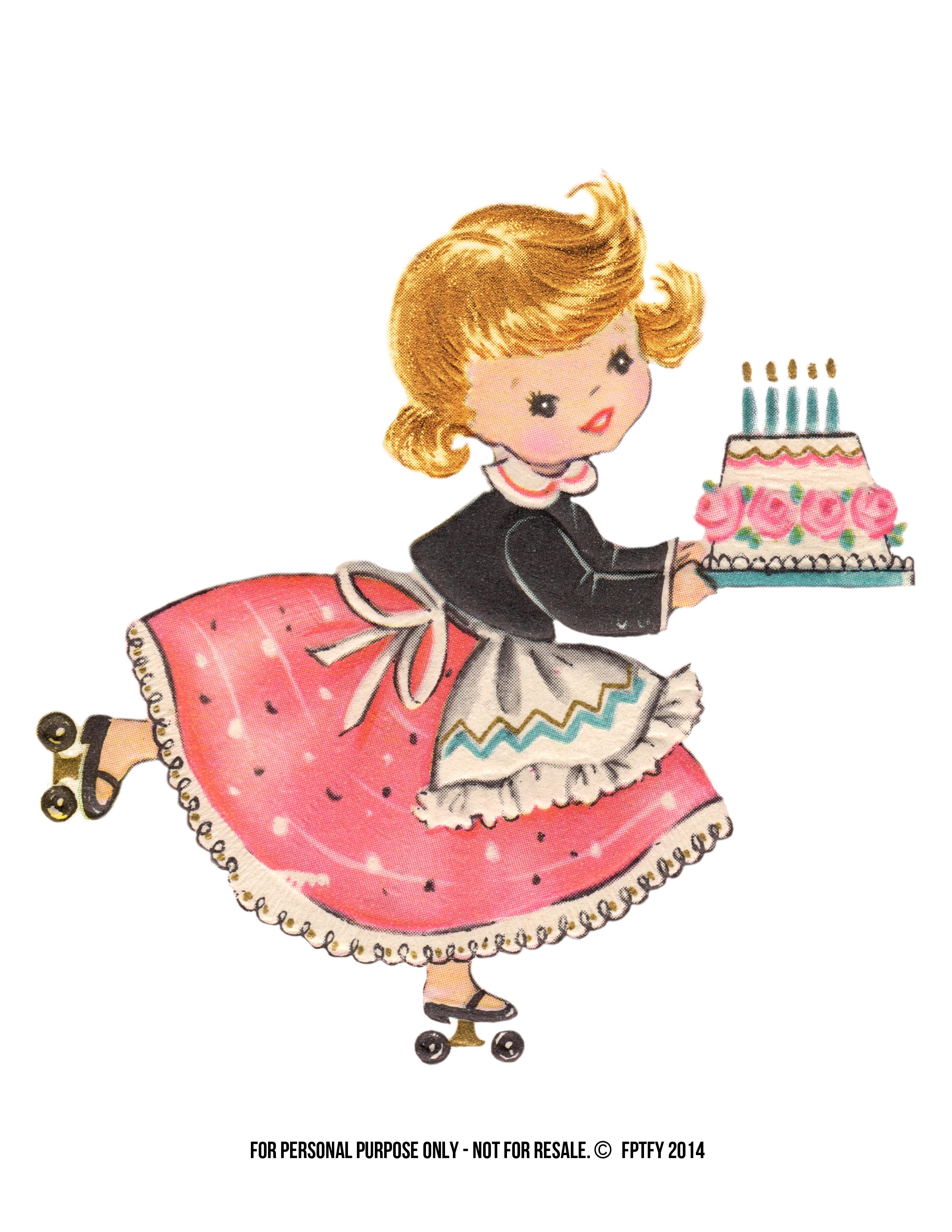 Vintage Stock: Free Large Birthday Girl Clip Art.