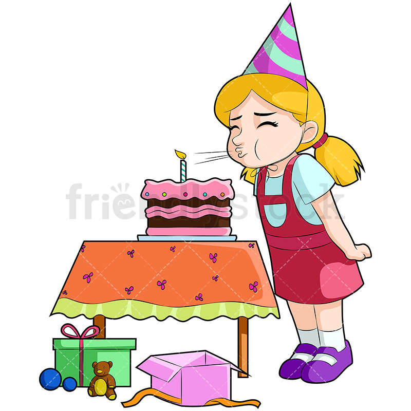A Little Girl At Her Birthday Party, Blowing Out The Candle On Her Cake.