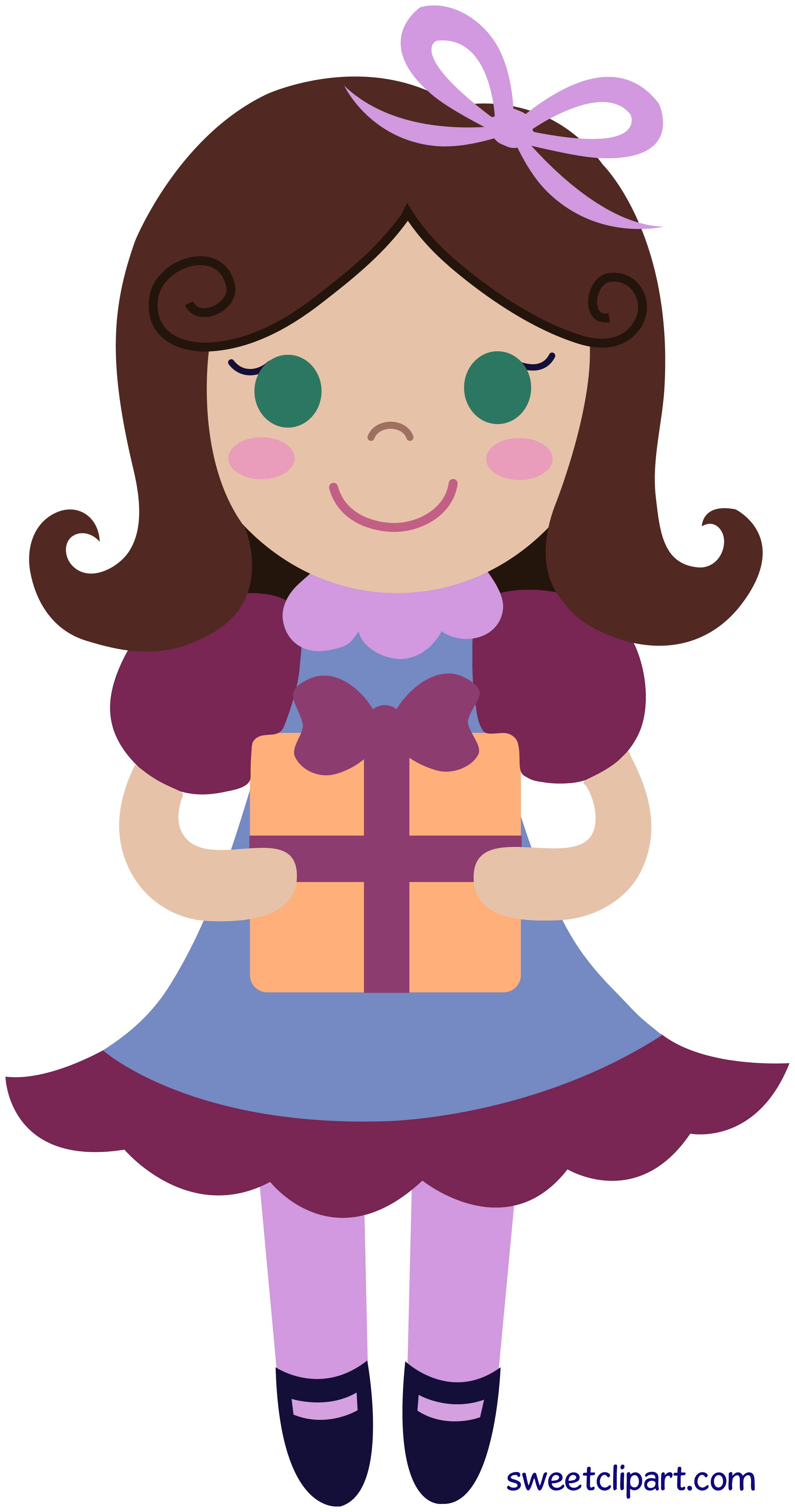 Birthday Girl With Gift Clip Art.