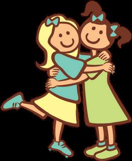Sisters Hugging Clipart.